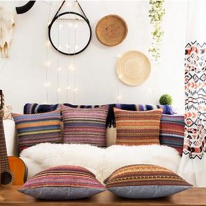 Accents - Set of 4 Pillow Cover for Couch Boho Retro Stripe